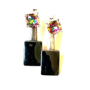 UP-CYCLED STERLING ONYX EARRINGS VTG TO NOW